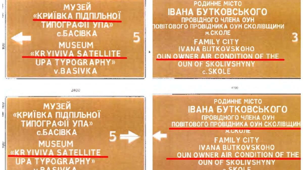 Чиновники из ЛОГА заплатили более полмиллиона гривен за дорожные знаки с ошибками в переводе