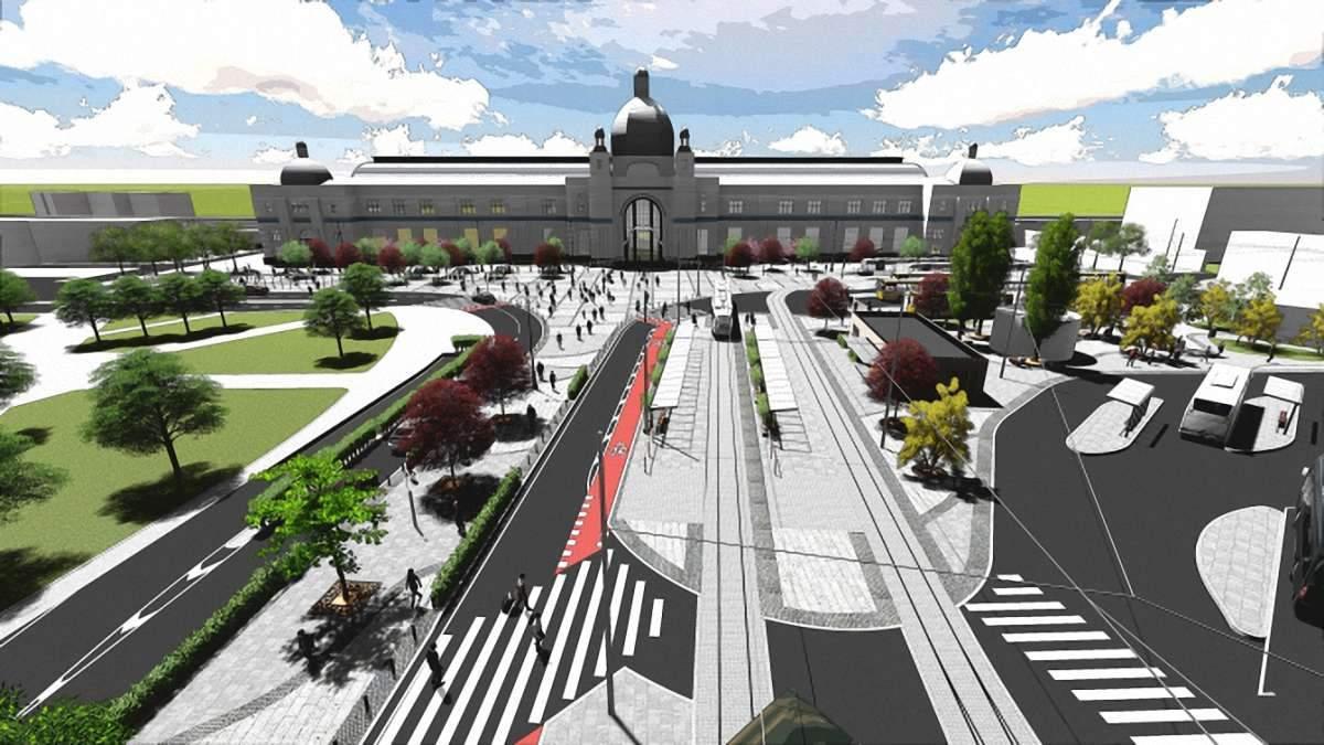 Оновлений простір перед головним вокзалом у Львові – як виглядатиме та фото проєкту