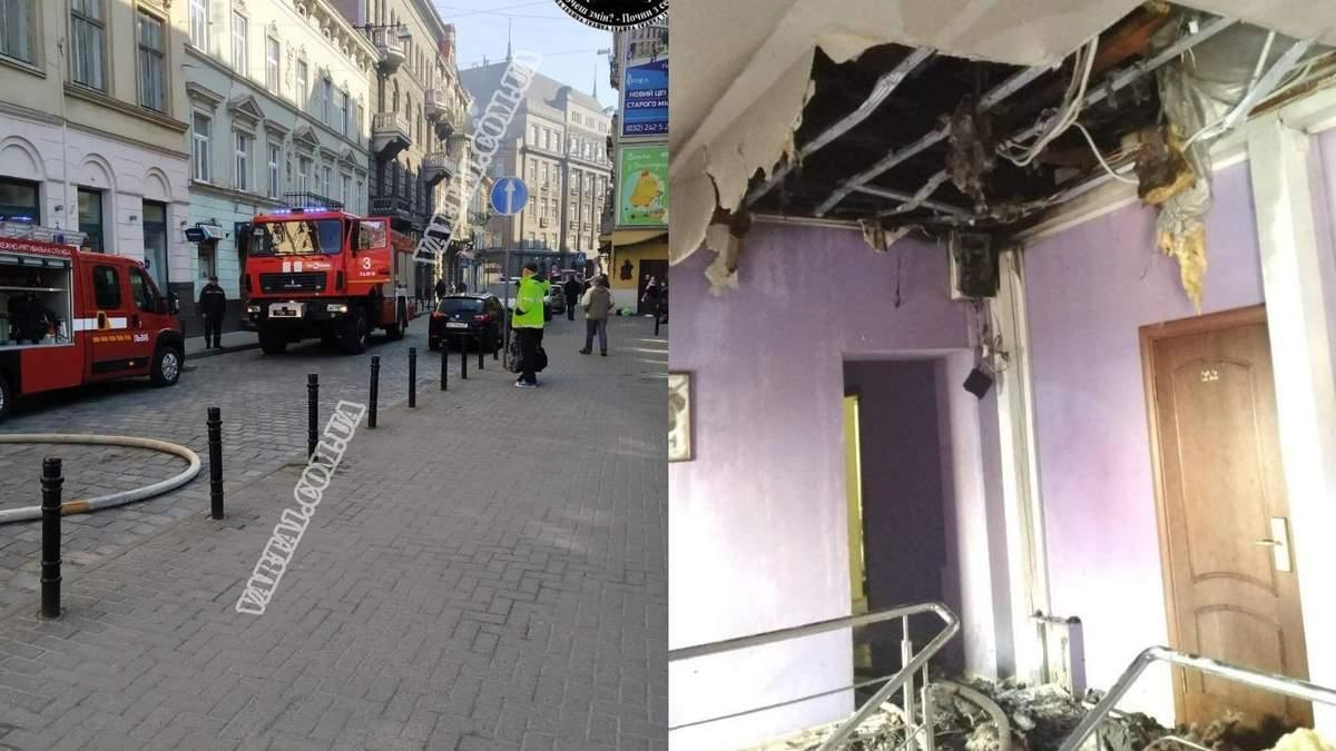 У центрі Львова загорівся готель: фото та відео пожежі на вулиці Коперника