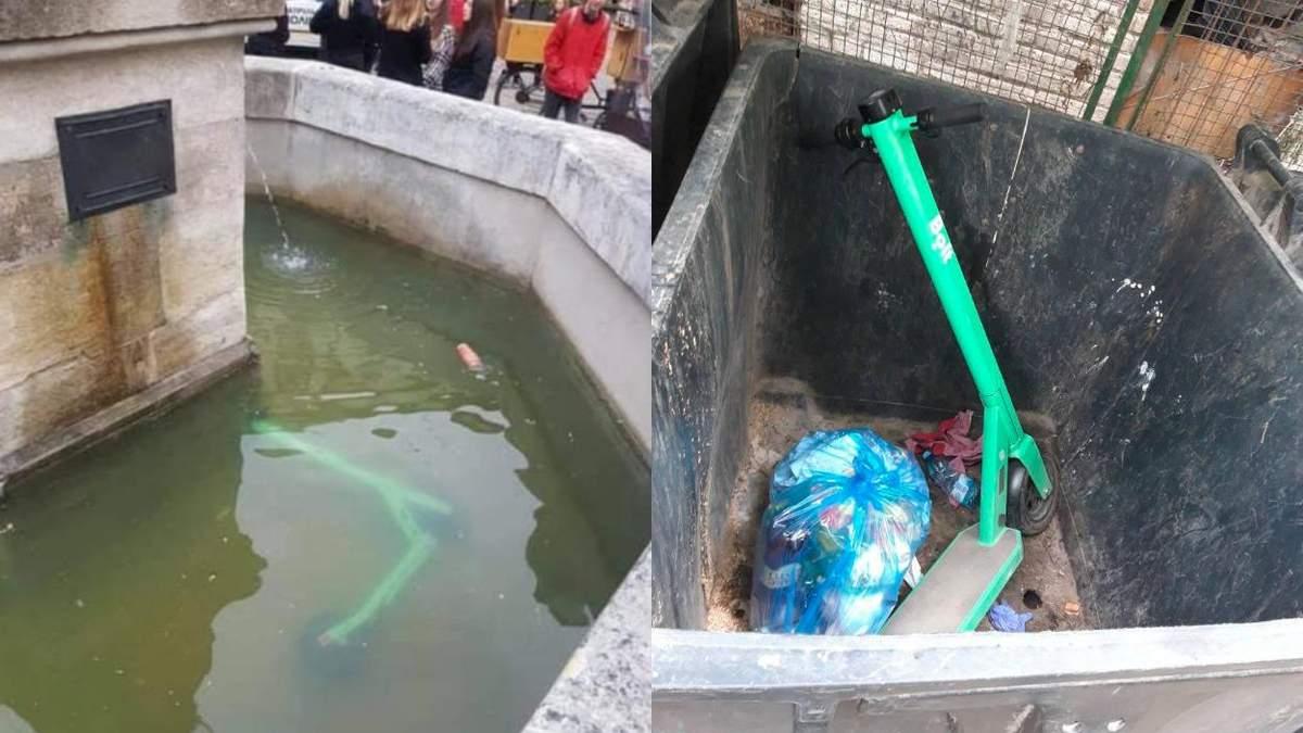 У фонтанах і смітниках: де львів'яни паркують електросамокати – кумедні фото і відео