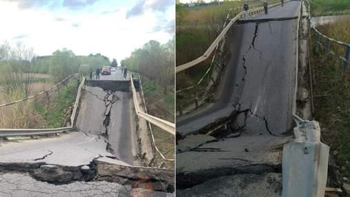 На Львовщине обвалился мост: движение по дороге заблокировано – видео с места событий